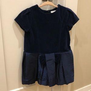 Jacadi Paris Navy Velvet and Chiffon Dress